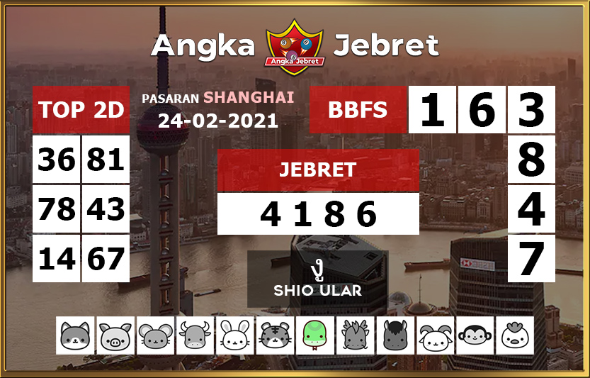 The prediction formula for the Shanghai Togel today is Wednesday, February 24, 2021