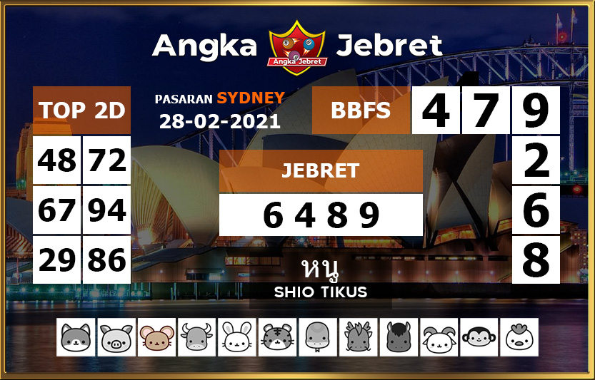 Today's Togel Sydney prediction formula is Sunday, February 28, 2021